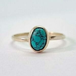 Brand New Sterling Silver 925 Turquoise (Oval) Ring, Size M
