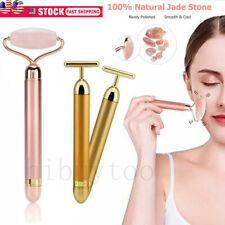 Rose Quartz Massage Roller Facial Stone Face Massager Tool Jade Anti-aging SPA