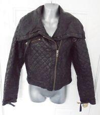 ❤ FRENCH CONNECTION Genuine Leather Size 6 Black Zip Up Biker Jacket Pockets