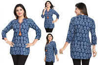 Top Women Fashion Indian Short Kurti Tunic Blue Cotton Kurta Shirt Dress SC1031