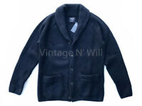 Abercrombie Fitch AF Jeans Mens Navy Blue Cozy Shawl Collar Cardigan Sweater