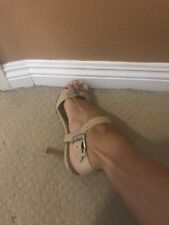 MANOLO BLAHNIK SHOES SANDAL STRAPY 41.1/2 SILVER BUCKLE BEIGE LEATHER 41.5
