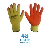 LATEX COATED ORANGE RUBBER SAFETY WORK GLOVES MENS BUILDERS GARDENING 24 PAIRS
