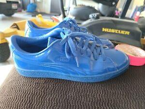 Rare Vintage Puma Basket Classic Patent Emboss Mens 362035-03 Blue Shoes Size 8