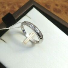 (004) NEW Cubic Zirconia CZ & 925 Sterling Silver - Line Design - Ring Size L