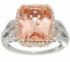 DIAMONIQUE & SIMULATED MORGANITE 14K ROSE-PLATED STERLING SILVER RING SIZE 5 QVC