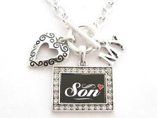 Son I Love Heart My Silver Toggle Necklace Black Crystal Rectangle Jewelry