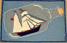 Ship in a Bottle Outdoor Mat Hooked Area Rug Home Decor
