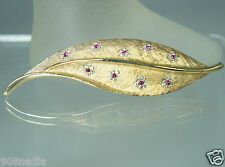 "VINTAGE GOLD TONE,PINK CLEAR RHINESTONE FLOWERS LEAF BROOCH/PIN SIGNED ""BSK"""