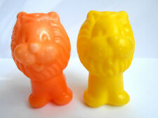 1970s Ussr Russian Soviet Toys Small Plastic Rose & Yellow Lions