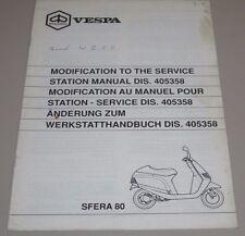 Änderung zum Werkstatthandbuch Dis. 405358 Vespa Motorroller Piaggio Sfera 80