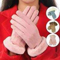 Womens Ladies Winter Suede Gloves Fur Lining Warm Thermal Driving Touch Screen