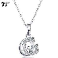 TT 18K White Gold GP Letter G Pendant Necklace With Box Chain (NP331G) NEW