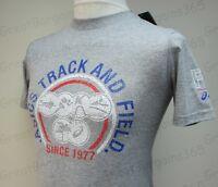 Mens Boys ASICS Short Sleeve T-Shirt Top Grey Black Logo Cotton Blend S M L XL