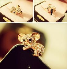 3.5mm Cute crystal animal Anti Dust Cap Jack Plug Stopper for iphone 6