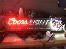 Coors Light Beer Neon Sign Nfl Badge Game Bar Room Official Sponsor Vintage Rare