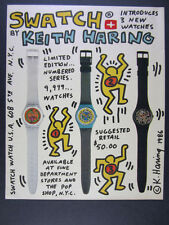 1986 Keith Haring Swatch Watch '3 New Watches' photo design art vintage print Ad