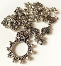 Vintage Silver Rose Beads Catholic Our Lady of Fatima Rosary Necklace Cross Gift