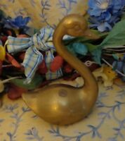 Vintage Brass Swan  Paperweight Figurine Desk Accessory 3.75 inch Tall