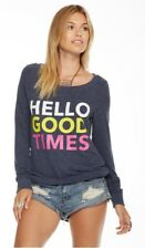 CHASER LA Hello Good Times NWT £75 Sweater M ** SO SOFT** blue pink sweats