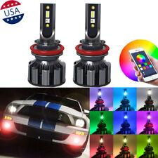 RGB Bluetooth Phone Control Cree H8 H11 LED COB Headlight Fog Lights Hi/Lo Beam
