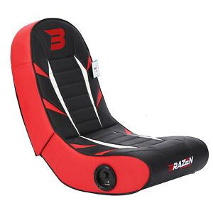 BraZen Floor Rocker Gaming Chair - Python 2.0 Bluetooth Speaker Sound - Red