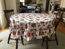 67� Round Christmas Tablecloth White Green Red Pionsettia Flowers Handmade?