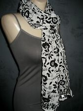 Chan Luu Scarf Exotic Off White Black Embroidery Mirror Sequin Viscose NWT $170