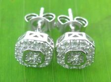 REAL 925 sterling silver micro setting CZ 7mm Square studs earrings women Girl