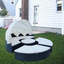Sonneninsel Gartenmöbel Polyrattan Sitzgarnitur Gartenmuschel Sonnenliege Lounge