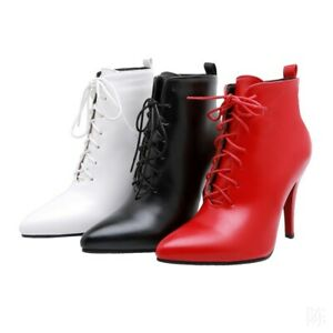 Women Stiletto Heel Ankle Boots Pointy Toe Lace-up British Shoes 3 Colors