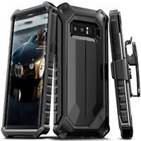Galaxy Note 8 Armor Case Full Body Protective Hybrid with Belt Clip BLACK