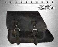 2003 & Earlier La Rosa Rustic Black Leather Harley Sportster Left Saddlebag