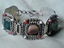 """INDIAN SILVER HANDMADE 1.25"""" WIDE BRACELET with 5 NATURAL AGATE STONES £5.99 NWT"""
