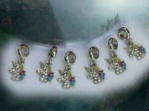 Einhorn Anhänger 6er Set Unicorn Charm Schlüssel Kette Armband Anhänger Fantasy
