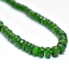 AAA+ Chrome Diopside Faceted Rondelle Beads, Natural Chrome Diopside Loose Beads