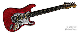 ELECTRIC GUITAR IRON-ON PATCH embroidered ROCK ROLL MUSIC INSTRUMENT APPLIQUE #1