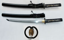 1095 Hand Forged Wakisashi Samurai Sword Shinogi Zukuri w/ Musashi Tsuba NEW