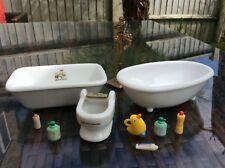 sylvanian families Vintage Ceramic Baths Set Bathroom Toilet Missing Seat