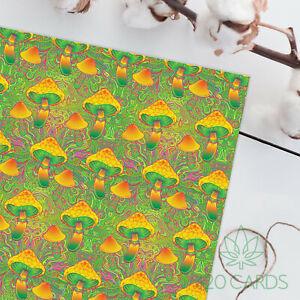 Psychedelic Hippy Birthday Anniversary Large Sheet of Wrapping paper Mushrooms