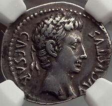OCTAVIAN as Augustus, Caesaraugusta, 19 BC. Silver Denarius Roman Coin NGC Ch VF