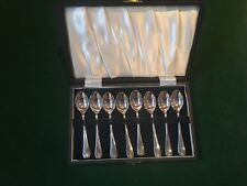 8 Vintage J Dixon Silver Plated Coffee Spoons in Box