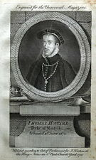 Thomas Howard duca di Norfolk ORIG rame inciso ANTICO RITRATTO STAMPA 1750