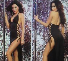Sexy Stripper Lingerie Side Lace Style Night Club Wear Long Dress Black Medium