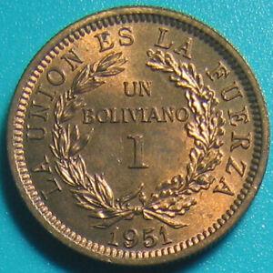 1951 BOLIVIA 1 BOLIVIANO TONED AU MEDAL ROTATION (no mint mark) BRONZE 3gr 18mm