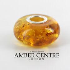 Genuine Amber & 925 Silver Charm For European Charm Bracelets RRP£40!!! CHA59