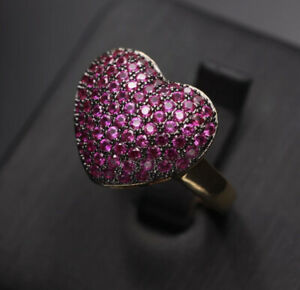 14k Gold Plated Red Heart Pendant Necklace Ring made w Swarovski Crystal Pave