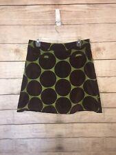 Women's BODEN Brown & Green Velvet Velour Polka Dot Minit A-line Skirt EUC Sz 10