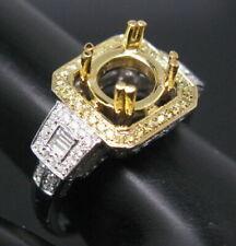 Round 8.0mm Natural Diamond Semi Mount Anniversary Ring Setting 14K 2 Tone Gold