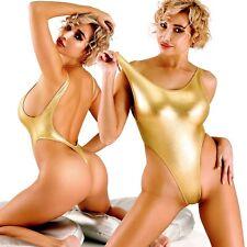 Sexy Gold One Piece Swimsuit Thong Monokini Bathing suit High Cut Leg Bodysuit